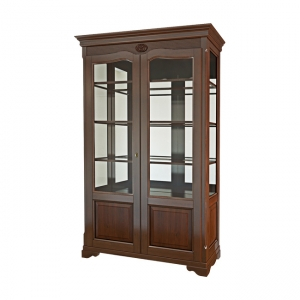 Вітрина 2-х дверна з філенкой  зі склом (+ 2 боки зі склом)